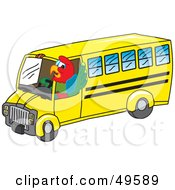 Royalty Free RF Clipart Illustration Of A Macaw Parrot Character Mascot School Bus Driver by Toons4Biz
