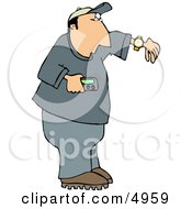 Man Holding A Vibrating Pager And Checking The Time On His Wrist Watch Clipart