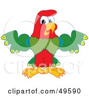 Royalty Free RF Clipart Illustration Of A Macaw Parrot Character Mascot Flexing by Toons4Biz