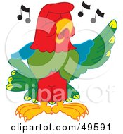 Royalty Free RF Clipart Illustration Of A Macaw Parrot Character Mascot Singing by Toons4Biz