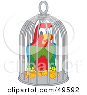 Royalty Free RF Clipart Illustration Of A Macaw Parrot Character Mascot In A Cage