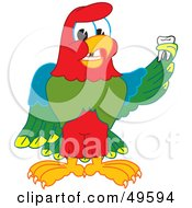 Macaw Parrot Character Mascot Holding A Missing Tooth