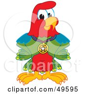 Macaw Parrot Character Mascot Wearing A Medal