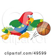 Macaw Parrot Character Mascot Playing Basketball