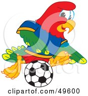 Royalty Free RF Clipart Illustration Of A Macaw Parrot Character Mascot Playing Soccer by Toons4Biz