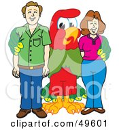 Royalty Free RF Clipart Illustration Of A Macaw Parrot Character Mascot With Parents by Toons4Biz