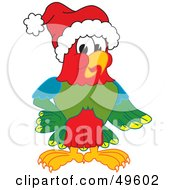 Macaw Parrot Character Mascot Wearing A Santa Hat