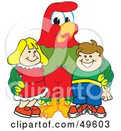 Royalty Free RF Clipart Illustration Of A Macaw Parrot Character Mascot With Students by Toons4Biz