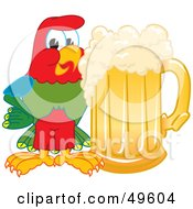 Macaw Parrot Character Mascot With A Mug Of Beer