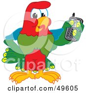 Royalty Free RF Clipart Illustration Of A Macaw Parrot Character Mascot Holding A Cell Phone by Toons4Biz