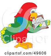 Royalty Free RF Clipart Illustration Of A Macaw Parrot Character Mascot Reading by Toons4Biz