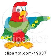 Macaw Parrot Character Mascot Pointing Right