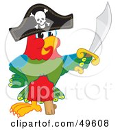Royalty Free RF Clipart Illustration Of A Macaw Parrot Character Mascot Dressed As A Pirate by Toons4Biz