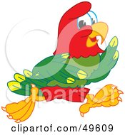 Royalty Free RF Clipart Illustration Of A Macaw Parrot Character Mascot Running