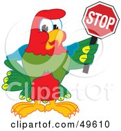 Royalty Free RF Clipart Illustration Of A Macaw Parrot Character Mascot Holding A Stop Sign by Toons4Biz