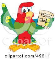 Macaw Parrot Character Mascot Holding A Report Card