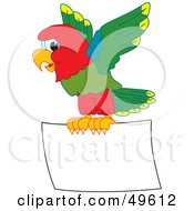 Royalty Free RF Clipart Illustration Of A Macaw Parrot Character Mascot Flying A Blank Sign by Toons4Biz