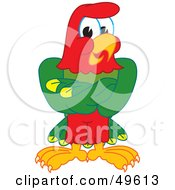 Macaw Parrot Character Mascot With His Wings Crossed