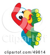 Royalty Free RF Clipart Illustration Of A Macaw Parrot Character Mascot Peeking by Toons4Biz
