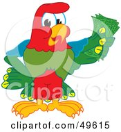 Royalty Free RF Clipart Illustration Of A Macaw Parrot Character Mascot Holding Cash by Toons4Biz