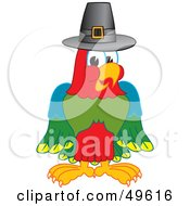 Royalty Free RF Clipart Illustration Of A Macaw Parrot Character Mascot Wearing A Pilgrim Hat by Toons4Biz