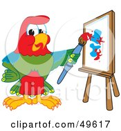 Royalty Free RF Clipart Illustration Of A Macaw Parrot Character Mascot Painting