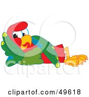 Royalty Free RF Clipart Illustration Of A Macaw Parrot Character Mascot Resting by Toons4Biz