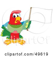 Macaw Parrot Character Mascot Waving A Blank Flag