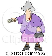 Elderly Overweight Woman Paying With Cash Clipart