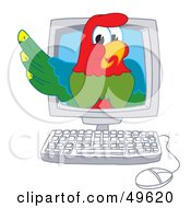 Royalty Free RF Clipart Illustration Of A Macaw Parrot Character Mascot In A Computer by Toons4Biz