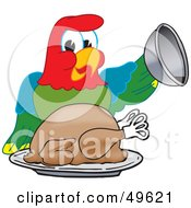 Macaw Parrot Character Mascot Serving A Turkey