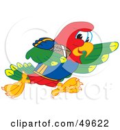 Royalty Free RF Clipart Illustration Of A Macaw Parrot Character Mascot Running With A Football by Toons4Biz