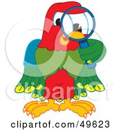 Royalty Free RF Clipart Illustration Of A Macaw Parrot Character Mascot Using A Magnifying Glass