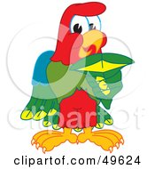 Royalty Free RF Clipart Illustration Of A Macaw Parrot Character Mascot Holding A Shark Tooth by Toons4Biz