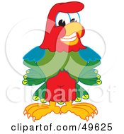 Royalty Free RF Clipart Illustration Of A Macaw Parrot Character Mascot Smiling by Toons4Biz