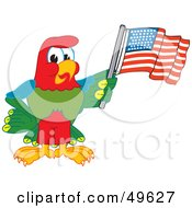 Macaw Parrot Character Mascot Waving An American Flag
