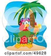 Macaw Parrot Character Mascot Drinking A Cocktail On A Tropical Beach