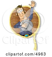 Happy Lariat Cowboy Waving His Hand To The Crowd Clipart by djart
