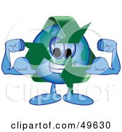 Royalty Free RF Clipart Illustration Of A Recycle Character Mascot Flexing by Toons4Biz