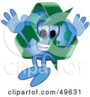 Royalty Free RF Clipart Illustration Of A Recycle Character Mascot Jumping by Toons4Biz