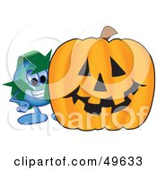 Recycle Character Mascot With A Halloween Pumpkin
