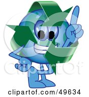 Royalty Free RF Clipart Illustration Of A Recycle Character Mascot Pointing Upwards by Toons4Biz