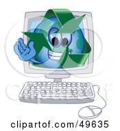 Recycle Character Mascot In A Computer