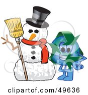 Royalty Free RF Clipart Illustration Of A Recycle Character Mascot With A Snowman by Toons4Biz