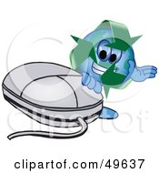 Royalty Free RF Clipart Illustration Of A Recycle Character Mascot With A Computer Mouse by Toons4Biz