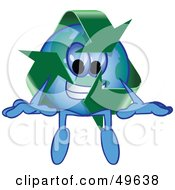 Royalty Free RF Clipart Illustration Of A Recycle Character Mascot Sitting