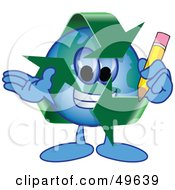 Recycle Character Mascot Holding A Pencil