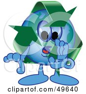 Royalty Free RF Clipart Illustration Of A Recycle Character Mascot Whispering
