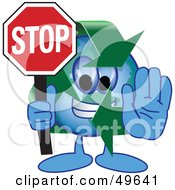 Royalty Free RF Clipart Illustration Of A Recycle Character Mascot Holding A Stop Sign by Toons4Biz