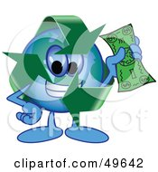 Recycle Character Mascot Holding Cash